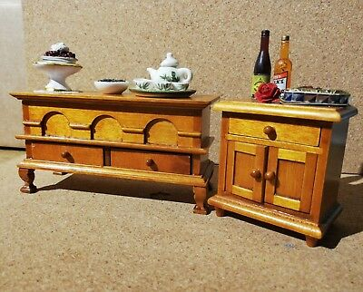 Dining Room Sideboard and Chest with Accessories for 1/12 Dolls House Furniture