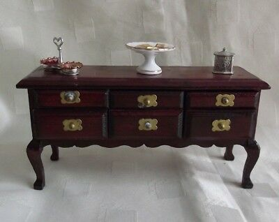 Vintage Handmade Sideboard with Quality Accessories for 1/12 Dolls House