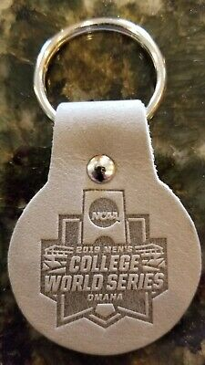 2019 NCAA Omaha Baseball Men's College World Series CWS - Gray Leather Keychain