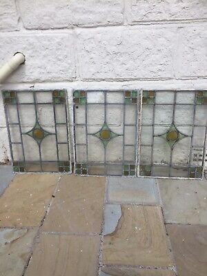 Art Deco British Leaded Light Stained Glass Window Panel