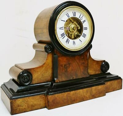 Fully Serviced Antique French 8 Day Walnut & Ebonised Bell Striking mantel Clock