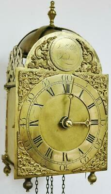 Antique English Verge Lantern Wall Clock J Willats Of London C1760 Weight Driven