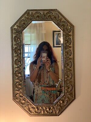 """Antique Victorian Tin Mirror Frame And Beveled Glass 29.5"""" By 17.5"""""""