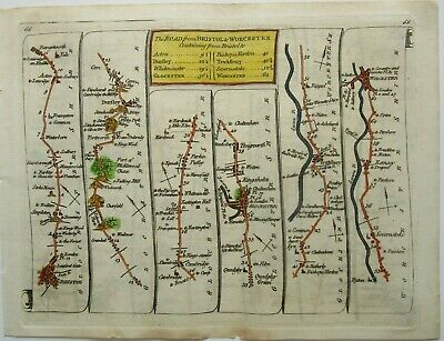 Antique Road Map of Bristol to Gloucester and Worcester by Thomas Kitchin 1767