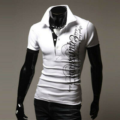 Men's Casual Blouse Formal Lapel Tops Slim Fit Short Sleeve Shrits Tee T-Shirt