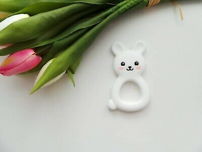 Silicone Bunny Teether Teething Toy Cartoon Soother Bpa Free White