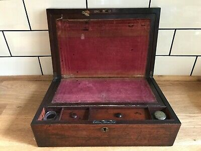 Antique Victorian Writing Slope with Glass Ink Bottles - 19th Century