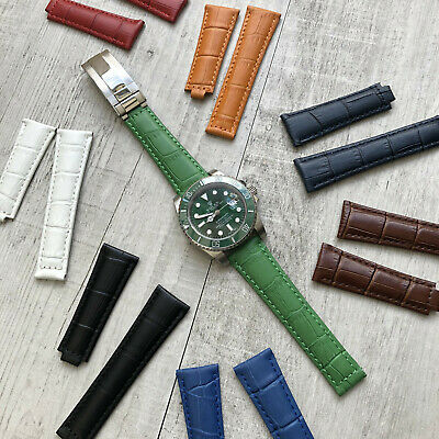 230d38a27 Genuine Leather Watch Strap Band 20mm For Rolex Daytona Submariner GMT  Datejust