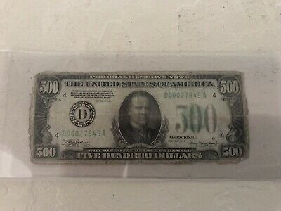 500 dollar bill 1934 Cleveland Fed Bank Circulated Ungraded