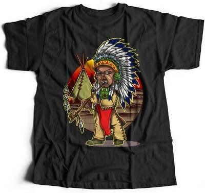 Mens T-Shirt Native Chieftain Motorcycles American Indian Chief Warrior Axe Wild