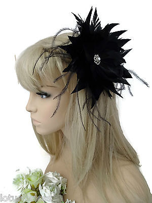 Large Black Flower Fascinator Hair Grip with Diamante Pearl and Feather