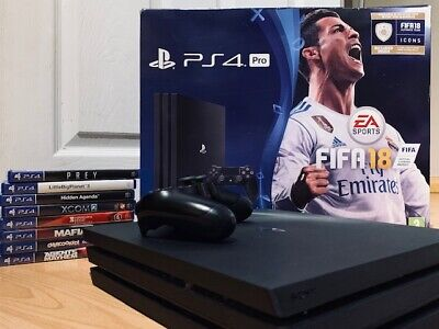 Sony Playstation 4 Pro 1TB Black Console 8 Game bundle Ps4