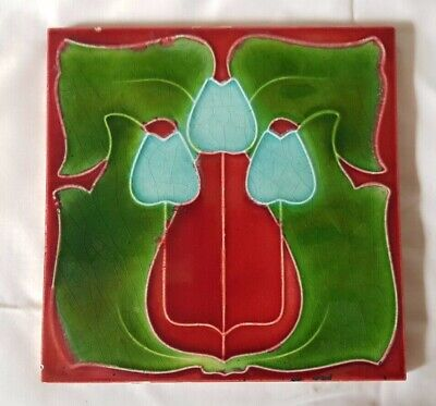 STUNNING english period ART NOUVEAU ANTIQUE RED & GREEN TILE