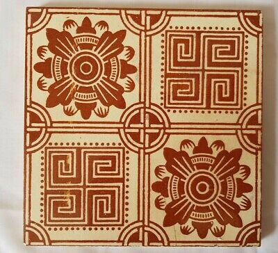 STRIKING ART & CRAFTS aesthetic SYMMETRICAL ANTIQUE TILE  craven dunnill