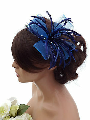 Blue Fascinator Hair Clip Corsage Pin Mesh Net Bow and Pearlised Beads