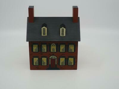 Windfield Designs Silk Screened Wooden Colonial House Bank Signed H. Musser 1985