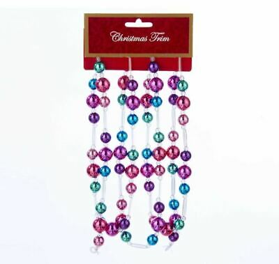 Kurt Adler 6' 5-12Mm Pink Aqua Purple Beaded Christmas Tree Garland Decoration