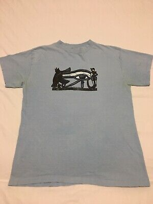 VTG 70s Eye Of Ra Ancient Egypt Egyptian Blue Single Stitch T Shirt Small 50/50