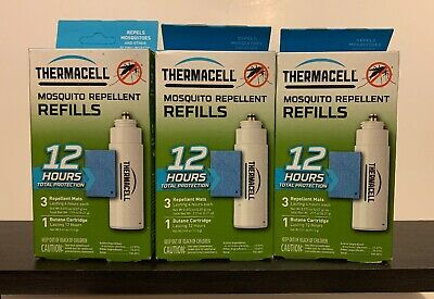 LOT OF 3 ThermaCell Mosquito Repellent REFILL 12 hour R-1 (9 Mats 3 Cartridges)