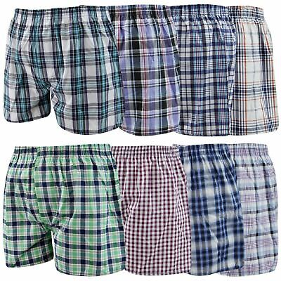 Pack Of 3 Mens Woven Check Print Poly Cotton Boxer Shorts Underwear Plain Trunks