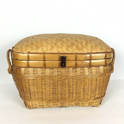 Sewing Storage Basket Rectangle w/Handles Hinged Lid Woven Asian Bamboo Wood
