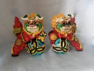 "5"" Chinese Pair Wucai Porcelain Koji Pottery Foo Dog Lion Fengshui Stamped RARE"