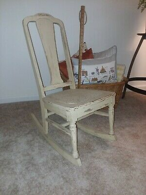 Sewing Rocker with Woven Seat, Antique, Wooden