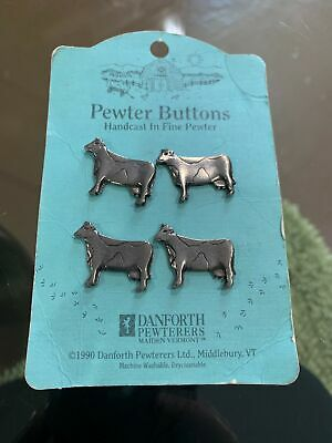 "Realistic Novelty Figural "" Danforth "" Pewter Cow 🐂 Button Lot of 4"