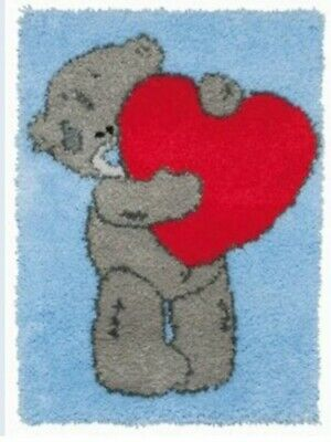 DIY Cute Tatty ted heart rug Make your own Rug Latch Hook Craft Kit blue nose BN