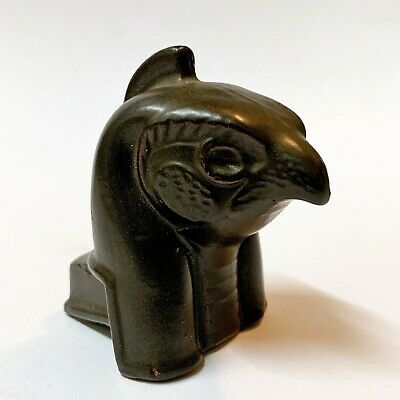 Small Pottery Bust Figurine - Horus,  Falcon God of Ancient Egypt - 6.5cm Tall