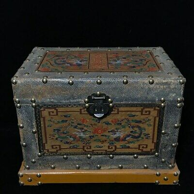 """19"""" Chinese old antique Lacquer ware Shark skin handmade dragon box statue"""