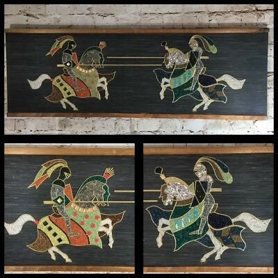 Mid Century Medieval Knights On Horses Gravel Pebble Art Wall Hanging Rare MCM