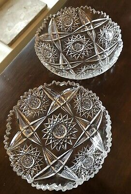 Pair Of Abp Antique American Brilliant Cut Glass Crystal Shallow Dish Plates 6X1