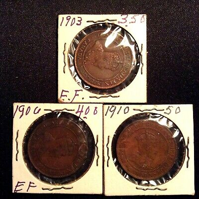 Lot of 3 1903, 1906, 1910 Canada 1 Cent Pieces Large Penny Coins -Good Condition