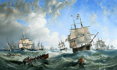 Sea war Warships oil painting Wall picture Giclee Art Printed on canvas L1342