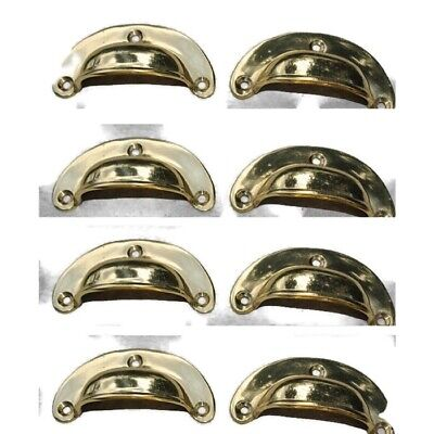 8 small shell shape pulls handles solid brass vintage POLISHED drawer 6.6 mm B