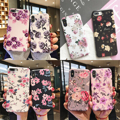 Cute Retro Flowers Pattern Soft Case Cover for iPhone XR XS Max 7 8 6s 6 plus