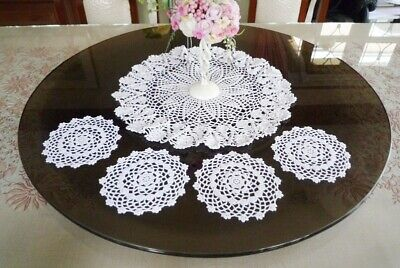 4 pct HAND CROCHET WHITE DOILIES ROUND LACE TABLE GLASS PLACEMAT HOME DECORATE