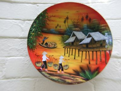 Vintage Oriental Wall  Plate Hand Painted  -Enamelled & Lacquered - Asian Art