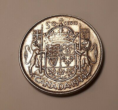 1944 Canada 50 Cents Coin (80% Silver) - King George VI