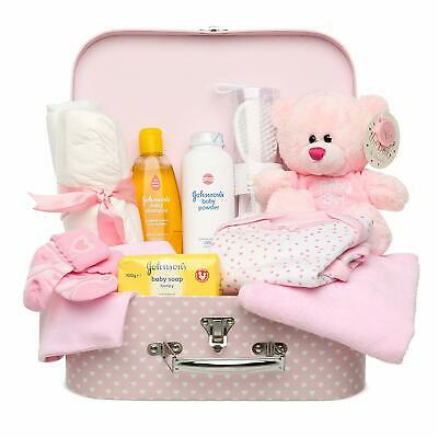 Newborn Baby Gift Set – Keepsake Box In Pink With Baby Clothes, Teddy Bear And