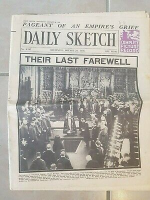 Funeral of King George V, Daily Sketch 29 January 1936 London Vintage Historic
