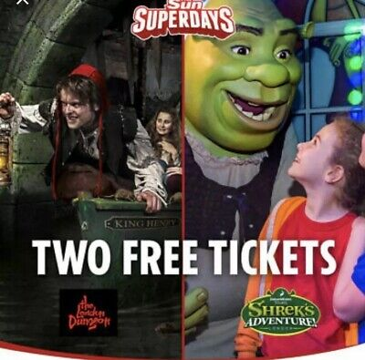 2  x LONDON DUNGEON OR SHREK's ADVENTURES, BOOKING CODE (PICK YOUR OWN DATES)