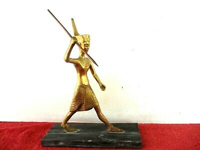 VINTAGE KING TUTANKHAMUN  SOLID BRASS  FIGURINE ON ALABASTER MARBLE  BASE  30cm.