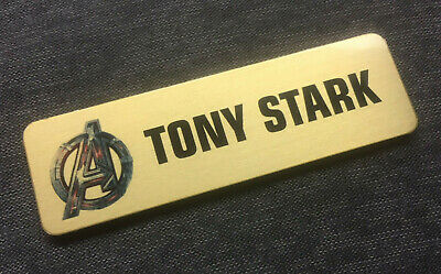 1 x Brushed Gold 63x19mm Full Colour Sublimated Name Badge with Magnet Fastener