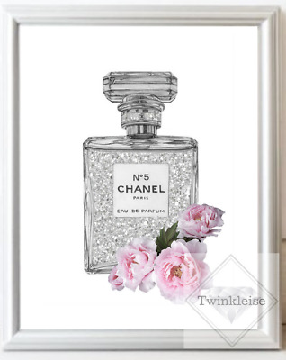 Chanel No5 Fashion Faux Glitter Floral Perfume Bottle Art Picture - A4 Print