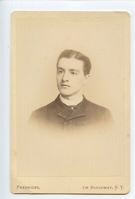Young Man in New York City, Nice Backstamp, Fredricks on Broadway - Cabinet Card