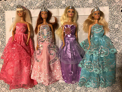 4 Gorgeous Barbie Dolls in satin and lace Ball Gowns Princess