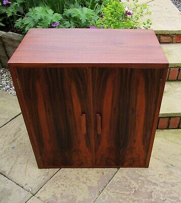 Mid Century Vintage Walnut and Rosewood Record Cabinet Media Unit Cupboard.