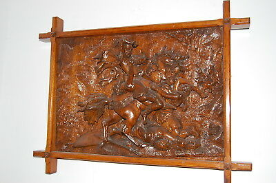 Large Antique Carved Panel - Knights